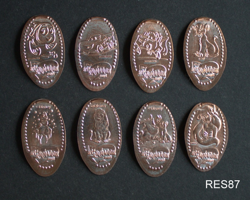 1900 Park Fare Grand Floridian Complete Set Of Eight Souvenir Pressed Pennies